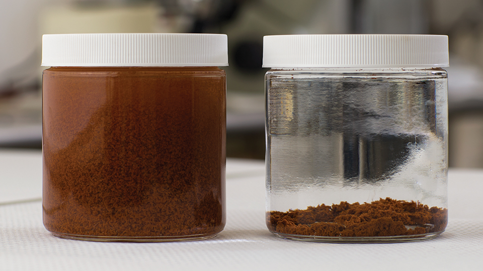 Untreated frac water (left) and treated with EOX (right)